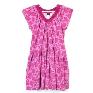 Tea Collection Girls Pink Berry Dress Lace Detail
